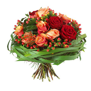 Bouquet rose rosse e arancio